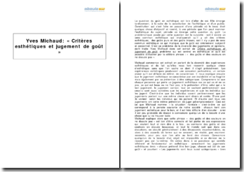 Yves Michaud : extrait de Critères esthétiques et jugement de goût