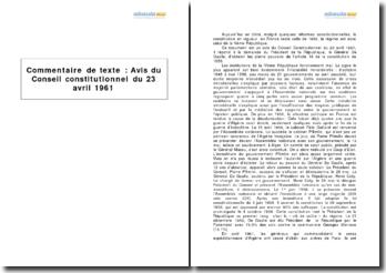 Avis du Conseil constitutionnel du 23 avril 1961 - l'application de l'article 16 de la Constitution