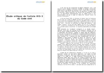 Etude critique de l'article 815-3 du Code civil - la gestion de l'indivision