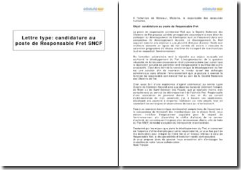 Candidature au poste de Responsable Fret SNCF