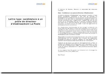 Candidature à un poste de directeur d'établissement La Poste