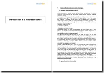 Introduction à la macroéconomie - spécificités, enjeux et méthodes