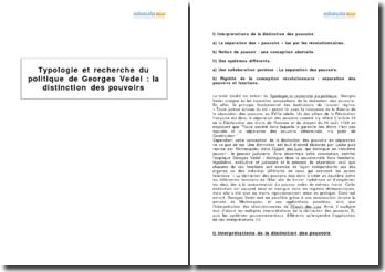 Extrait de Typologie et recherche du politique de Georges Vedel : la distinction des pouvoirs