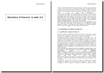 Evolution d'Internet : le web 2.0