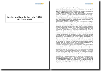 Les formalités de l'article 1690 du Code civil pour la cession de créances