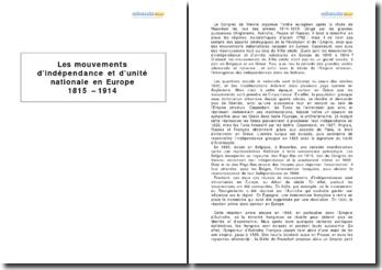 Les mouvements d'indépendance et d'unité nationale en Europe de 1815 à 1914