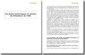 Les droits économiques et sociaux du Préambule de 1946 et leur protection par le juge