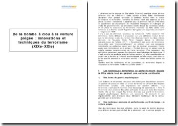 De la bombe à clou à la voiture piégée : innovations et techniques du terrorisme (XIXe-XXIe)