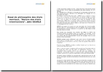 Essai de philosophie des états mentaux, chapitre 1 : Nature des états intentionnels, John Searle