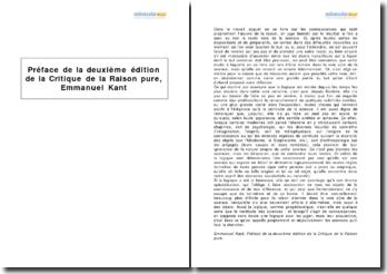 Préface de la deuxième édition de la Critique de la Raison pure, Emmanuel Kant