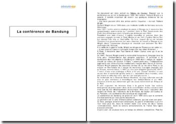 La conférence de Bandung, d'après un extrait de Richard Wright