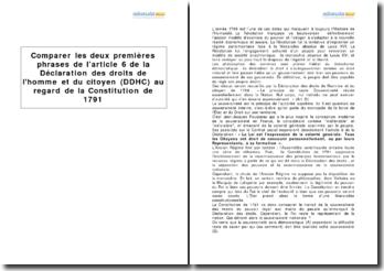 Comparer les deux premières phrases de l'article 6 de la Déclaration des Droits de l'Homme et du Citoyen (DDHC) au regard de la Constitution de 1791
