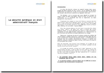 La sécurité juridique en droit administratif français