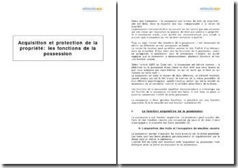 Acquisition et protection de la propriété : les fonctions de la possession