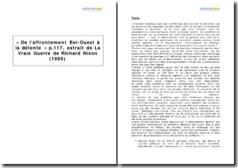 « De l'affrontement Est-Ouest à la détente » p.117, extrait de La Vraie Guerre de Richard Nixon (1980)