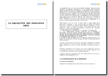 La copropriété des immeubles bâtis - gestion collective, droits et obligations individuelles