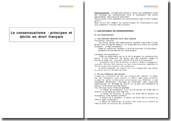 Le consensualisme : principes et déclin en droit français