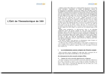 L'Édit de Thessalonique de 380