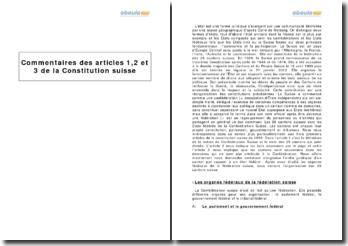 Articles 1,2 et 3 de la Constitution suisse
