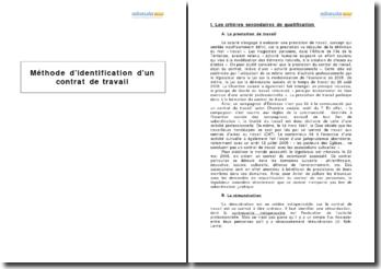Méthode d'identification d'un contrat de travail