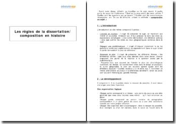 Les règles de la dissertation / composition en histoire