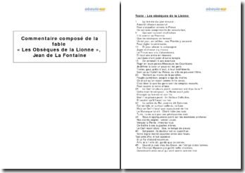 La fable « Les Obsèques de la Lionne », La Fontaine