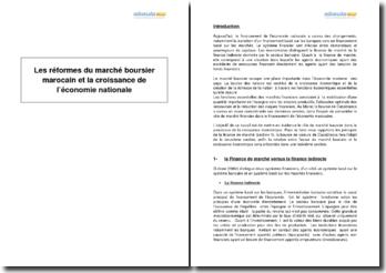 Les réformes du marché boursier marocain et la croissance de l'économie nationale