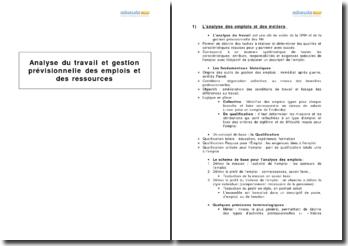 Analyse du travail et gestion prévisionnelle des emplois et des ressources