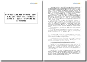 Articles 11844-5 du Code civil et articles L223-4 et L227-4 du Code de commerce - les effets de la réunion des parts sociales en une seule main