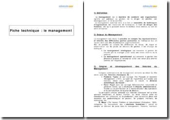 Le management - enjeux, origine et principes de base