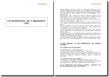 Préambule et titre premier de la Constitution du 3 septembre 1791 - principes et obligations de l'Etat