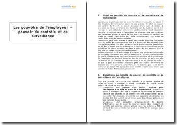 Les pouvoirs de l'employeur - pouvoir de contrôle et de surveillance