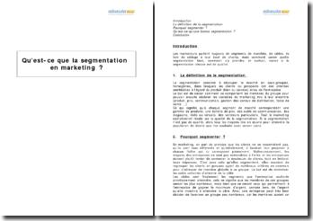 Qu'est-ce que la segmentation en marketing ?