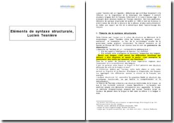 Eléments de syntaxe structurale, Lucien Tesnière