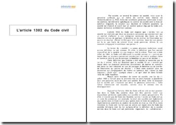 L'article 1382 du Code civil - le contrat de société