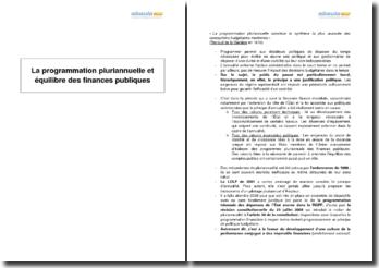 La programmation pluriannuelle et l'équilibre des finances publiques