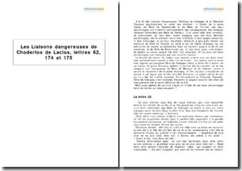 Les Liaisons dangereuses de Choderlos de Laclos, lettres 62, 174 et 175
