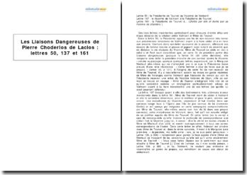 Les Liaisons Dangereuses de Pierre Choderlos de Laclos : lettres 50, 137 et 161