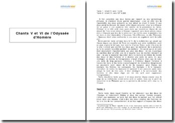 L'Odyssée, Homère - étude des chants V et VI