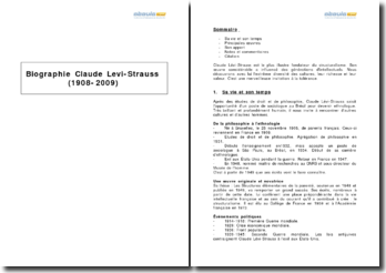 Biographie de Claude Lévi-Strauss (1908-2009)
