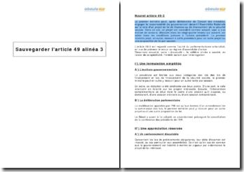 Analyse du nouvel article 49 alinéa 3 de la Constitution - engagement de la responsabilité du gouvernement devant l'Assemblée