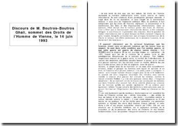M. Boutros-Boutros Ghali, Sommet des Droits de l'Homme de Vienne, 14 Juin 1993 - le droit d'ingérence humanitaire