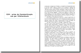 ''La conquête de Constantinople, Villehardouin - récit de la prise de Constantinople
