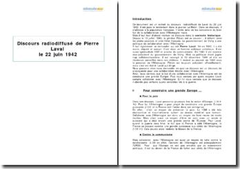 Discours radiodiffusé de Pierre Laval le 22 juin 1942