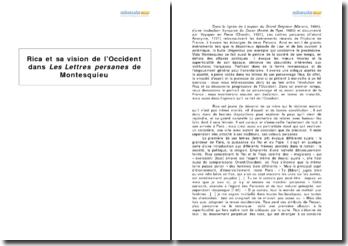 Rica et sa vision de l'Occident dans Les Lettres Persanes de Montesquieu