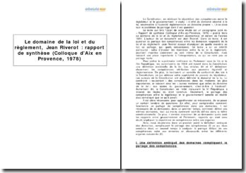 Le domaine de la loi et du règlement, Jean Riverot - extrait du rapport de synthèse (colloque d'Aix-en-Provence, 1978)