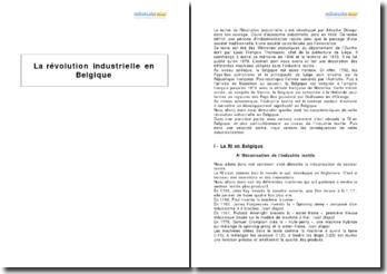 La révolution industrielle en Belgique, d'après un texte de Louis François Thomassin sur les machines utilisées dans l'industrie textile