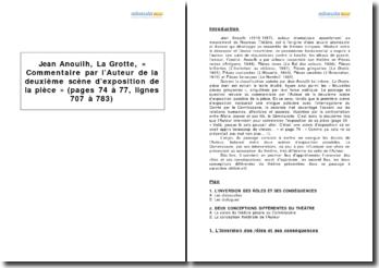 Jean Anouilh, La Grotte, « Commentaire par l'Auteur de la deuxième scène d'exposition de la pièce » (pages 74 à 77, lignes 707 à 783)
