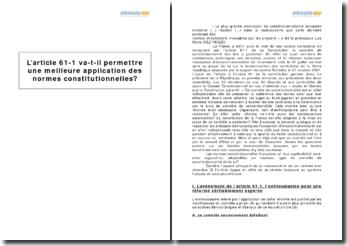 L'article 61-1 va-t-il permettre une meilleure application des normes constitutionnelles ?