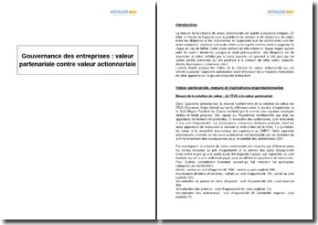 Gouvernance des entreprises : valeur partenariale contre valeur actionnariale